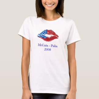 Flag Lipstick Kiss, McCain - Palin 2008 T-Shirt