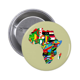Flag Map of Africa Flags - African Culture Gift 6 Cm Round Badge
