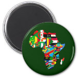 Flag Map of Africa Flags - African Culture Gift 6 Cm Round Magnet
