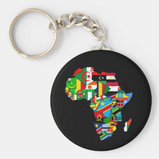 Flag Map of Africa Flags - African Culture Gift Basic Round Button Key Ring
