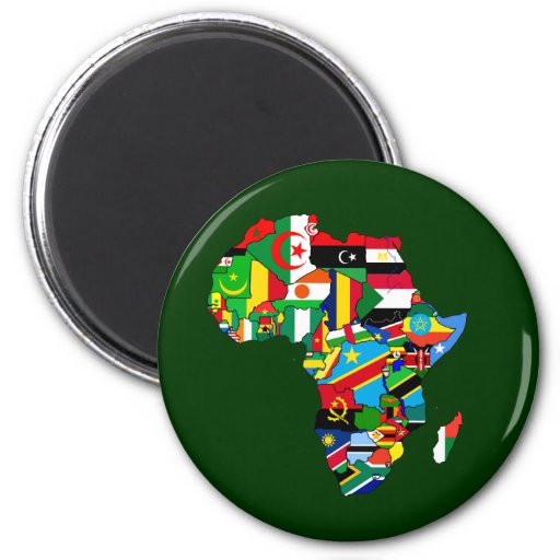Flag Map of Africa Flags - African Culture Gift Magnets