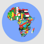Flag Map of Africa Flags - African Culture Gift Round Stickers