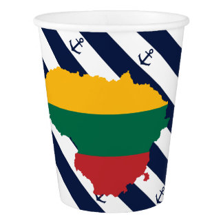 Flag/map of Lithuania on striped background Paper Cup
