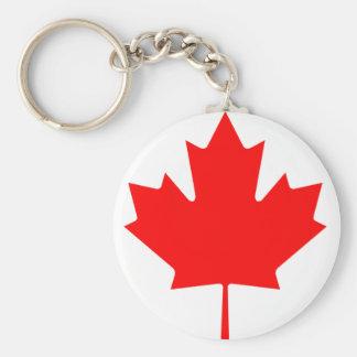 Flag maple leaf basic round button key ring
