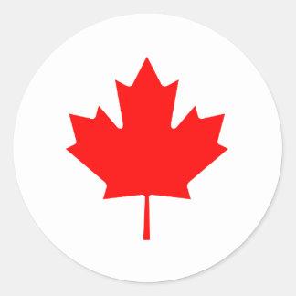 Flag maple leaf round sticker