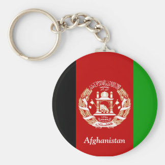 Flag of Afghanistan Basic Round Button Key Ring
