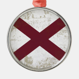 FLAG OF ALABAMA Silver-Colored ROUND DECORATION