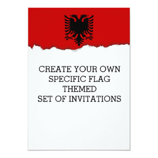 Flag of Albania 13 Cm X 18 Cm Invitation Card