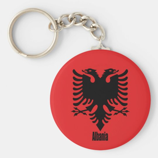 Flag of Albania, labelled Basic Round Button Key Ring