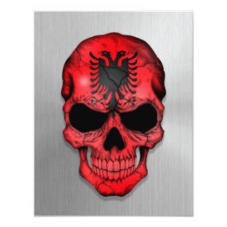Flag of Albania on a Steel Skull Graphic 11 Cm X 14 Cm Invitation Card