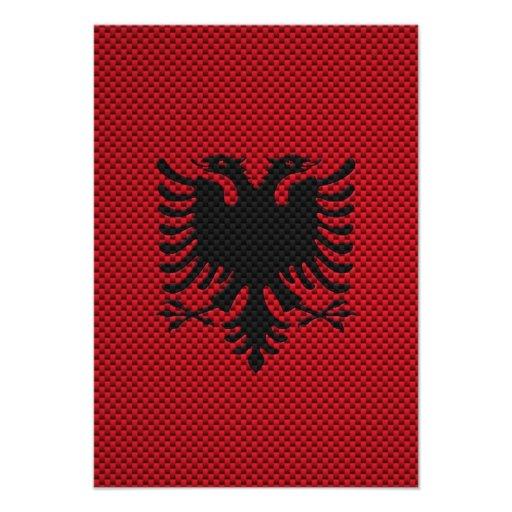 Flag of Albania with Carbon Fiber Effect Invite