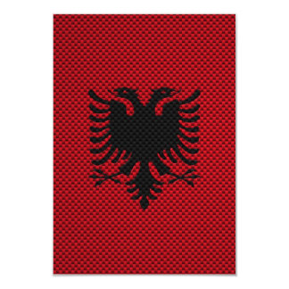 "Flag of Albania with Carbon Fiber Effect 3.5"" X 5"" Invitation Card"