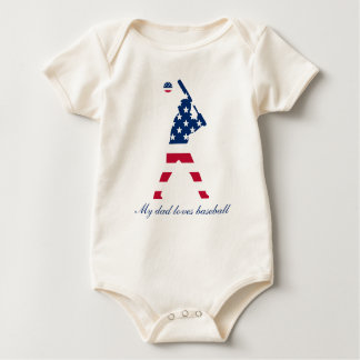 Flag of America Baseball American Baby Bodysuit