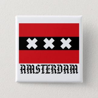 Flag of Amsterdam 15 Cm Square Badge