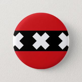 Flag of Amsterdam 6 Cm Round Badge
