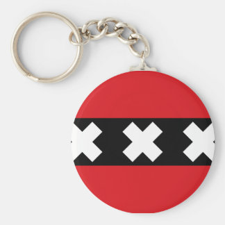 Flag of Amsterdam Basic Round Button Key Ring