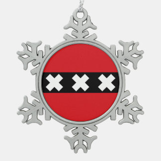 Flag of Amsterdam, Netherlands Snowflake Pewter Christmas Ornament