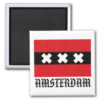 Flag of Amsterdam Square Magnet