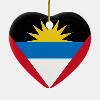 Flag of Antigua and Barbuda Ceramic Heart Decoration