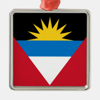 Flag of Antigua and Barbuda Silver-Colored Square Decoration