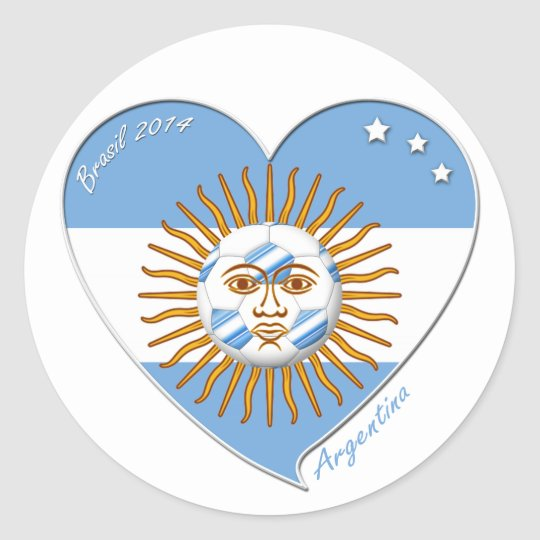 Flag Of Argentina National Soccer May Sun Classic Round Sticker