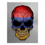 Flag of Armenia on a Steel Skull Graphic