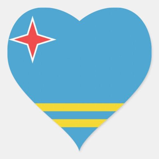 Flag of Aruba Heart Stickers