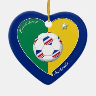 Flag of AUSTRALIA national SOCCER of the world Ceramic Heart Decoration