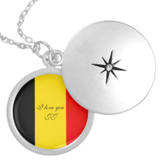 Flag of Belgium Silver Plated Necklace