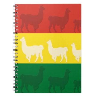 Flag of Bolivia with Llamas Spiral Notebook