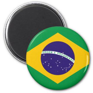 FLAG OF BRAZIL 6 CM ROUND MAGNET