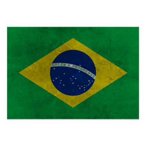 Flag of Brazil (Aged Style) Poster