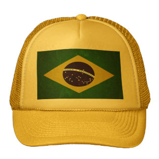 Flag of Brazil (grunge) Mesh Hats