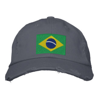 Flag of Brazil in Green Yellow and Blue Embroidered Hat