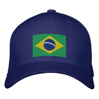 Flag of Brazil in Green, Yellow and Blue Embroidered Hats