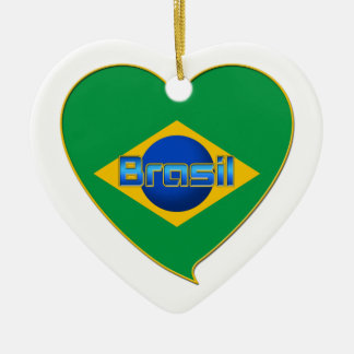 Flag of BRAZIL in heart of countries of the world Ceramic Heart Decoration