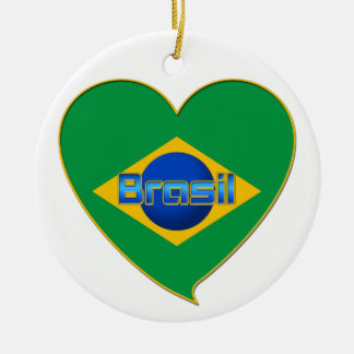 Flag of BRAZIL in heart of countries of the world Round Ceramic Decoration
