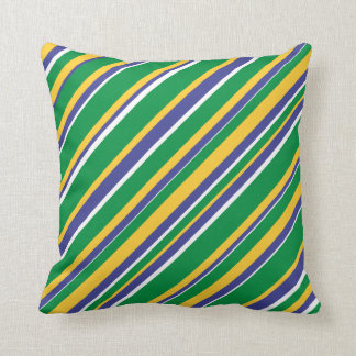 Flag of Brazil Inspired Colored Stripes Pattern Cushion