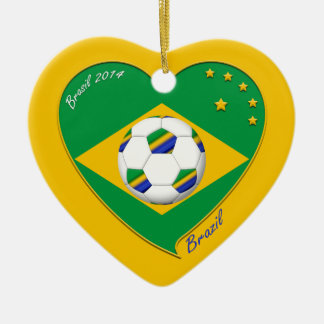 Flag of BRAZIL SOCCER of champions of the world Christmas Tree Ornaments