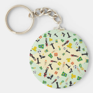 Flag of Brazil with iconic items Basic Round Button Key Ring