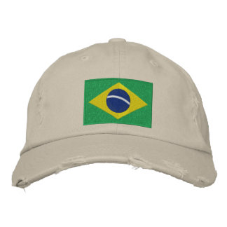 Flag of Brazil with Personalized Text Embroidered Cap