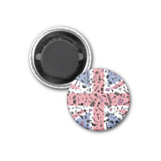 Flag of Britain with items Britain is famous for 3 Cm Round Magnet