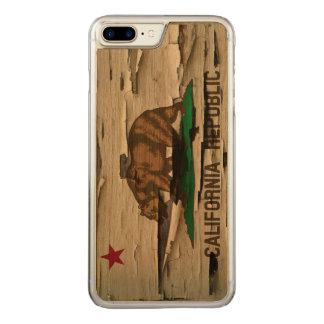 Flag of California Republic Vintage Wood Peel Look Carved iPhone 7 Plus Case