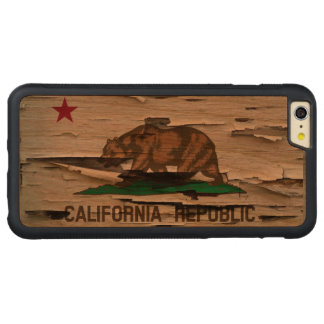 Flag of California Republic Vintage Wood Peel Look Carved® Cherry iPhone 6 Plus Bumper Case