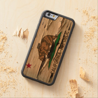 Flag of California Republic Vintage Wood Peel Look Carved® Cherry iPhone 6 Bumper
