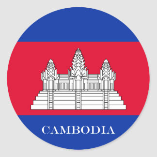 Flag of Cambodia Classic Round Sticker