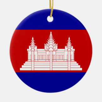 flag of cambodia round ceramic decoration