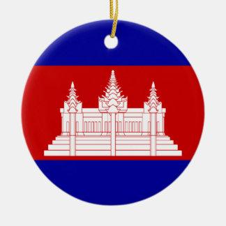 flag of cambodia round ceramic decoration