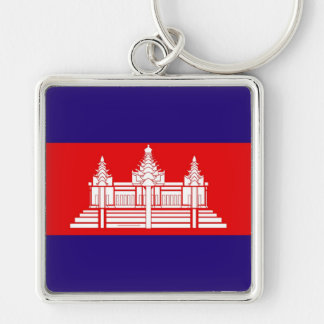 Flag of Cambodia Silver-Colored Square Key Ring