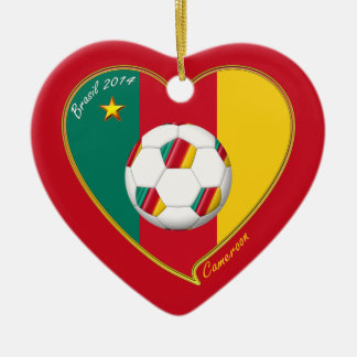 Flag of CAMEROUN national SOCCER of world 2014 Ceramic Heart Decoration